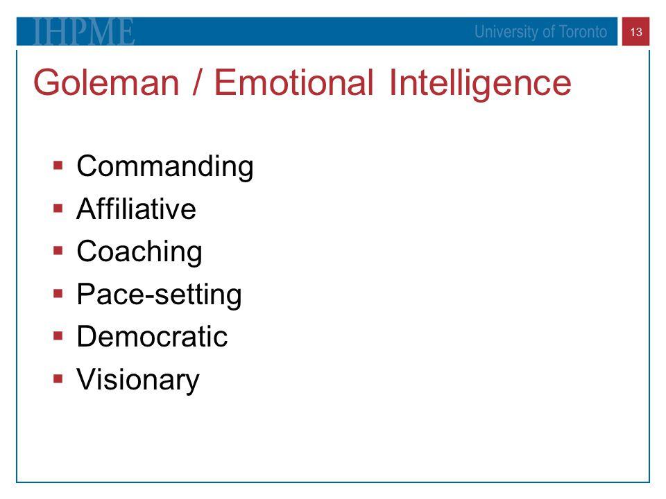 13 Goleman / Emotional Intelligence  Commanding  Affiliative  Coaching  Pace-setting  Democratic  Visionary