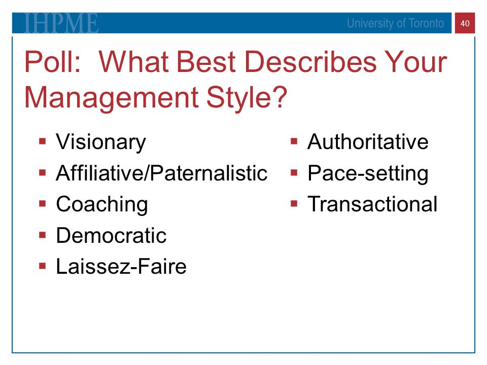 40 Poll: What Best Describes Your Management Style.
