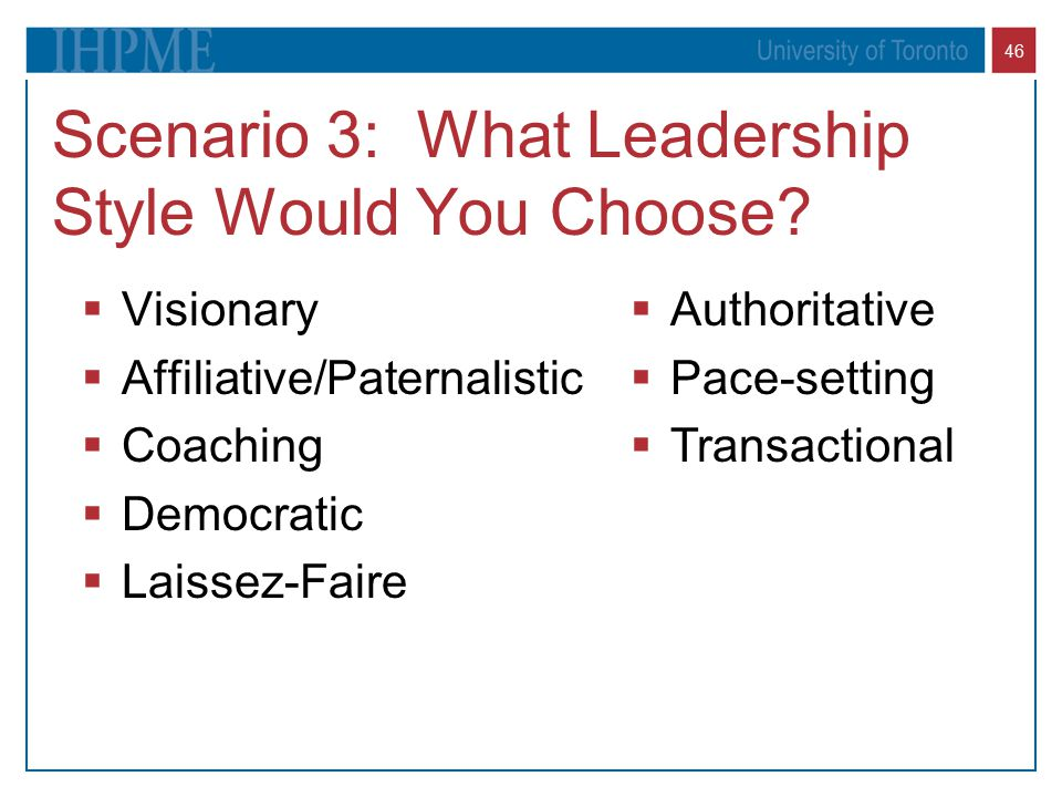 46 Scenario 3: What Leadership Style Would You Choose.