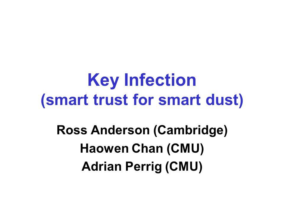 Key Infection (smart trust for smart dust) Ross Anderson (Cambridge) Haowen Chan (CMU) Adrian Perrig (CMU)