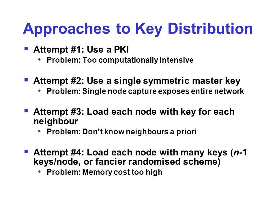Approaches to Key Distribution  Attempt #1: Use a PKI Problem: Too computationally intensive  Attempt #2: Use a single symmetric master key Problem: