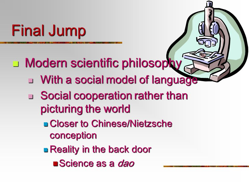 Final Jump Modern scientific philosophy Modern scientific philosophy With a social model of language With a social model of language Social cooperatio