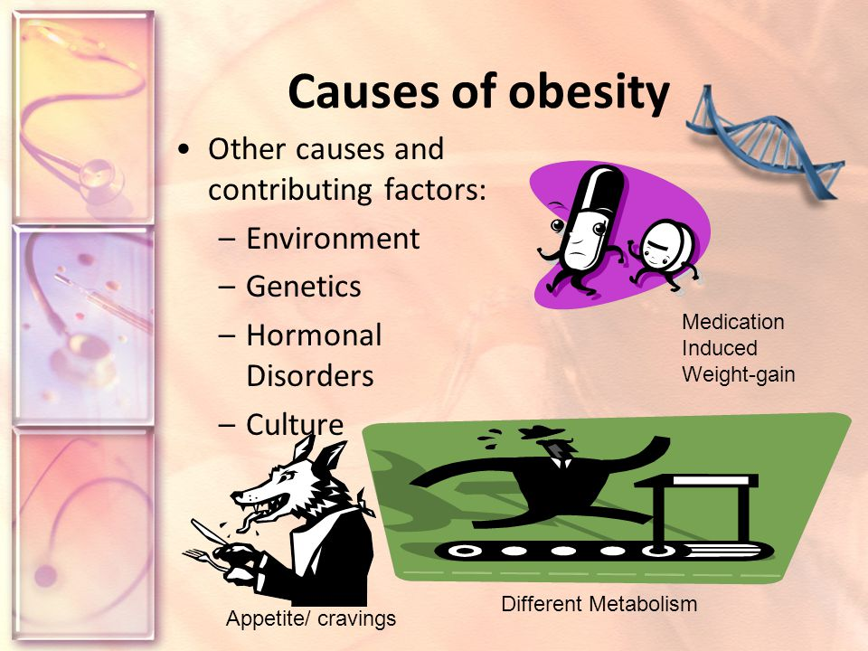 Causes of obesity Other causes and contributing factors: –Environment –Genetics –Hormonal Disorders –Culture Different Metabolism Medication Induced Weight-gain Appetite/ cravings
