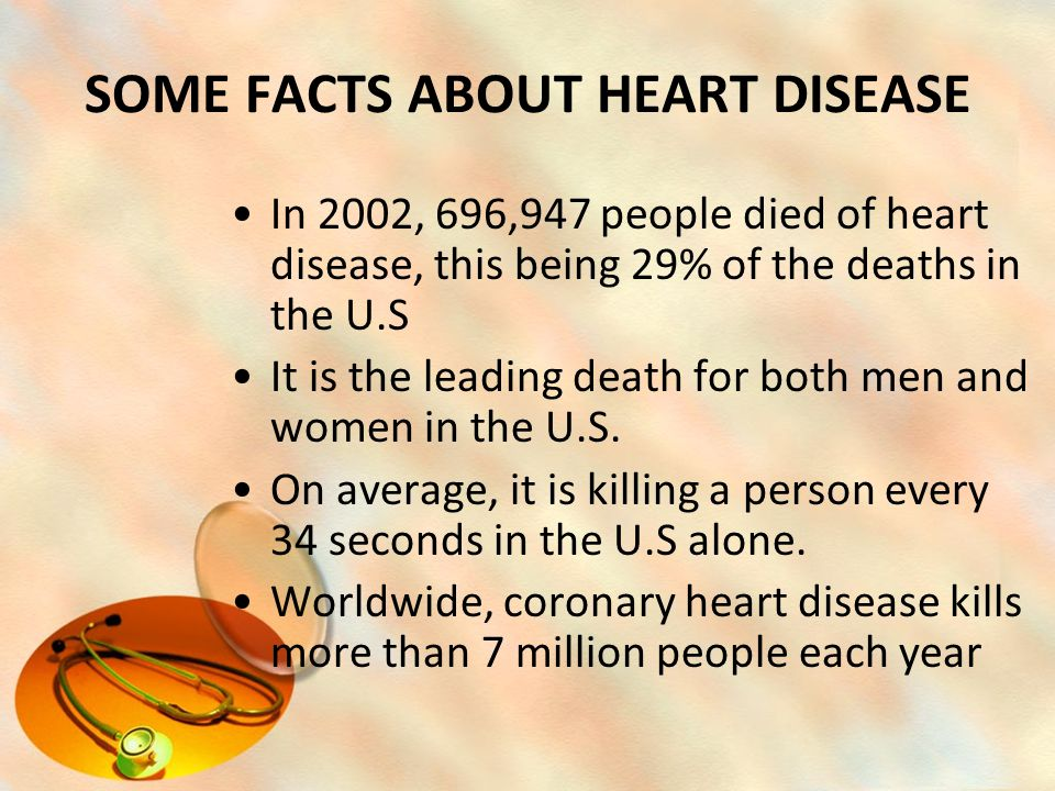 SOME FACTS ABOUT HEART DISEASE In 2002, 696,947 people died of heart disease, this being 29% of the deaths in the U.S It is the leading death for both men and women in the U.S.