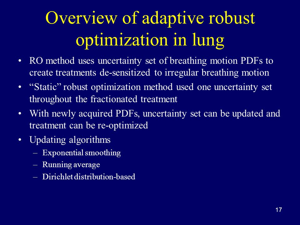 Overview of adaptive robust optimization in lung RO method uses uncertainty set of breathing motion PDFs to create treatments de-sensitized to irregul
