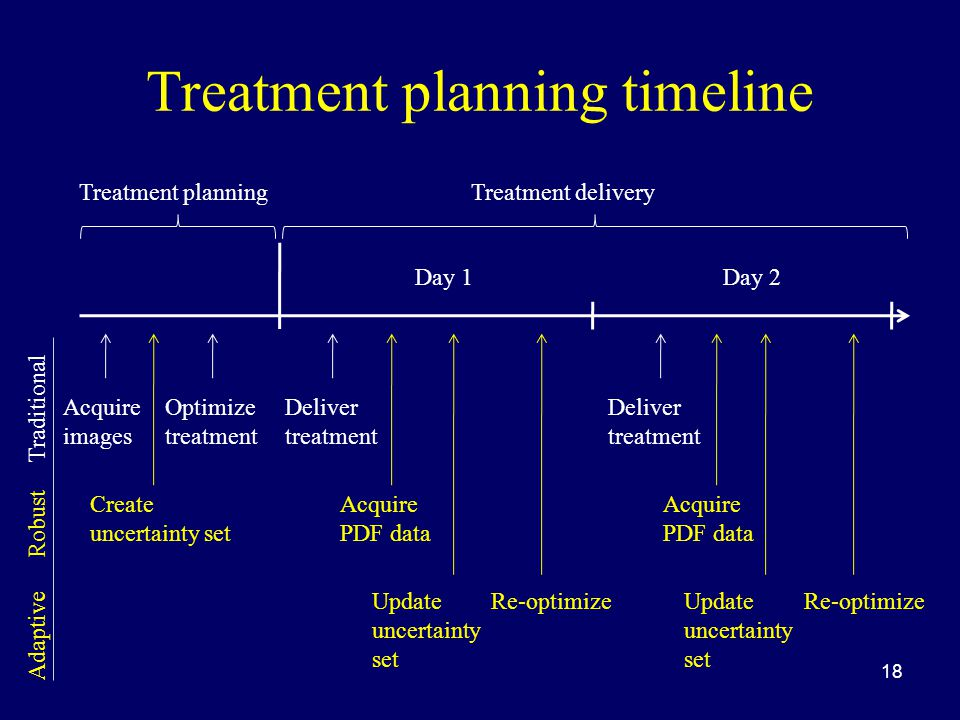 Treatment planning timeline 18 Treatment planningTreatment delivery Day 1Day 2 Acquire images Optimize treatment Deliver treatment Create uncertainty