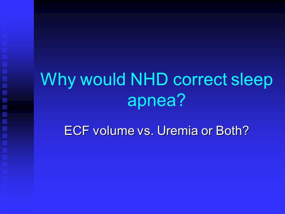 Why would NHD correct sleep apnea ECF volume vs. Uremia or Both