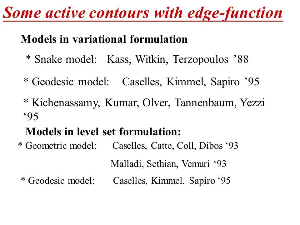 Some active contours with edge-function Models in variational formulation Models in level set formulation: * Snake model: Kass, Witkin, Terzopoulos '88 * Geodesic model: Caselles, Kimmel, Sapiro '95 * Kichenassamy, Kumar, Olver, Tannenbaum, Yezzi '95 * Geometric model: Caselles, Catte, Coll, Dibos '93 Malladi, Sethian, Vemuri '93 * Geodesic model: Caselles, Kimmel, Sapiro '95
