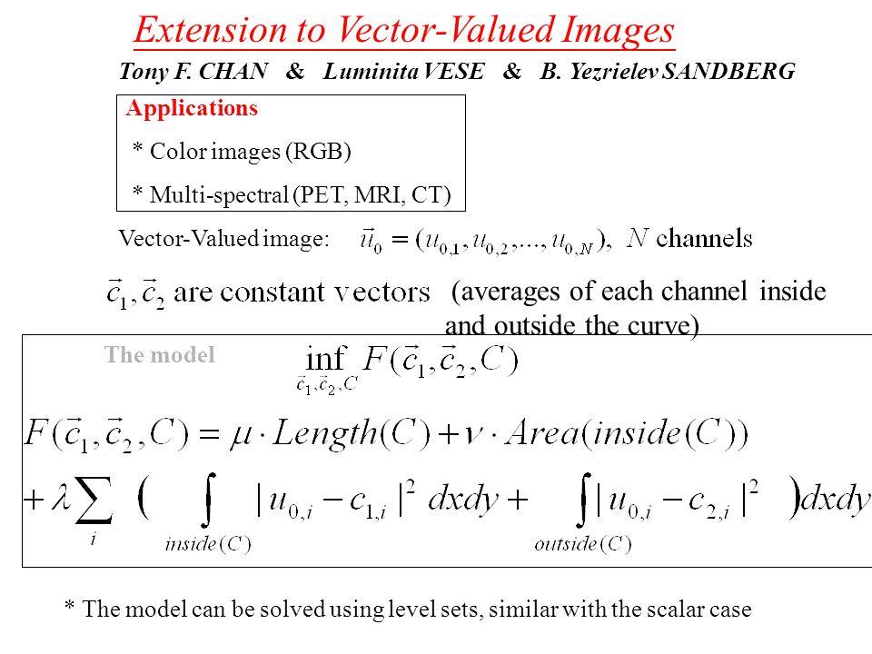 Extension to Vector-Valued Images Tony F.CHAN & Luminita VESE & B.