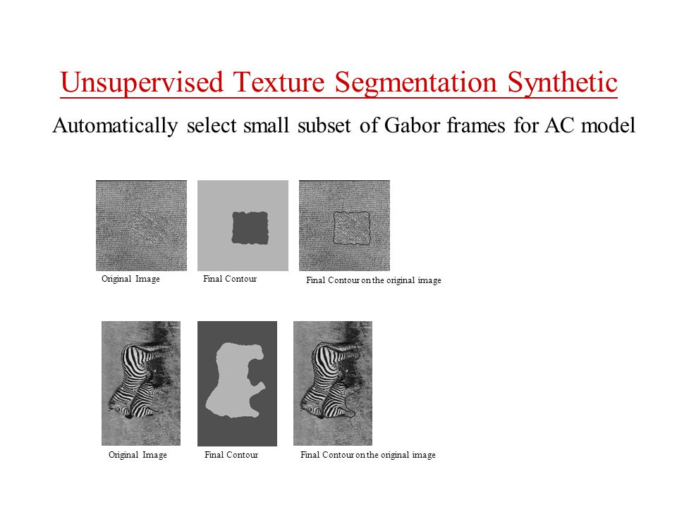 Unsupervised Texture Segmentation Synthetic Final Contour on the original image Original Image Final Contour on the original image Final Contour Automatically select small subset of Gabor frames for AC model
