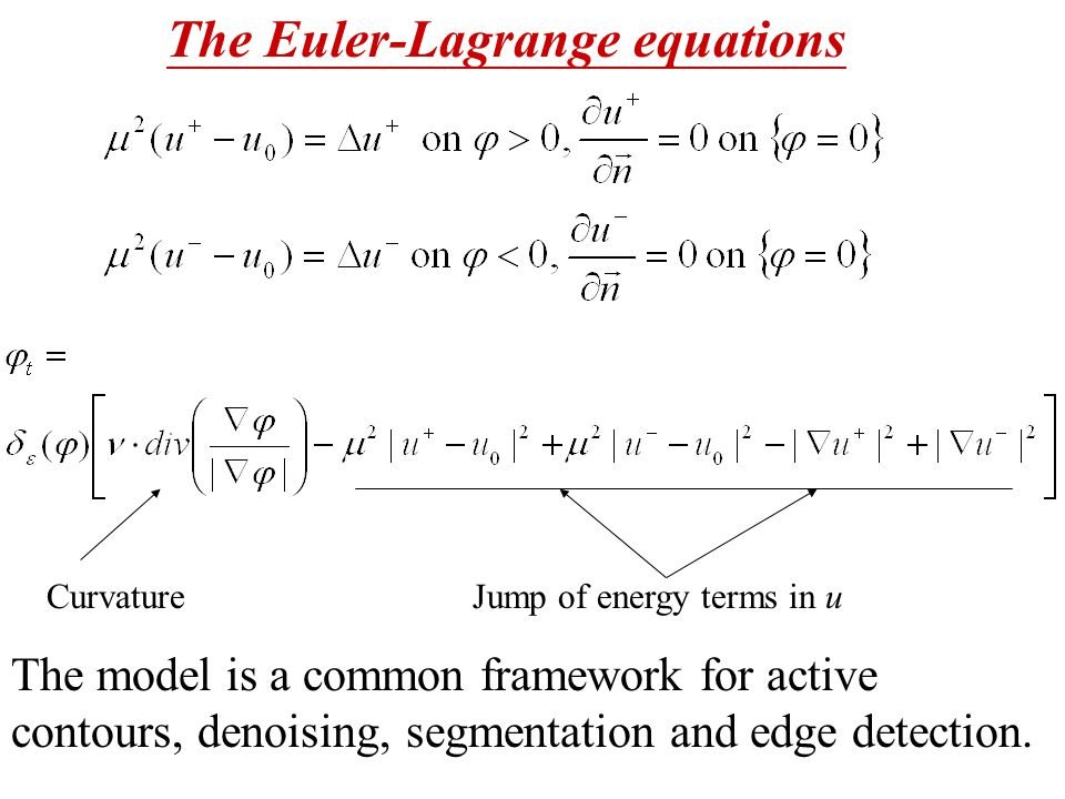 The Euler-Lagrange equations The model is a common framework for active contours, denoising, segmentation and edge detection.
