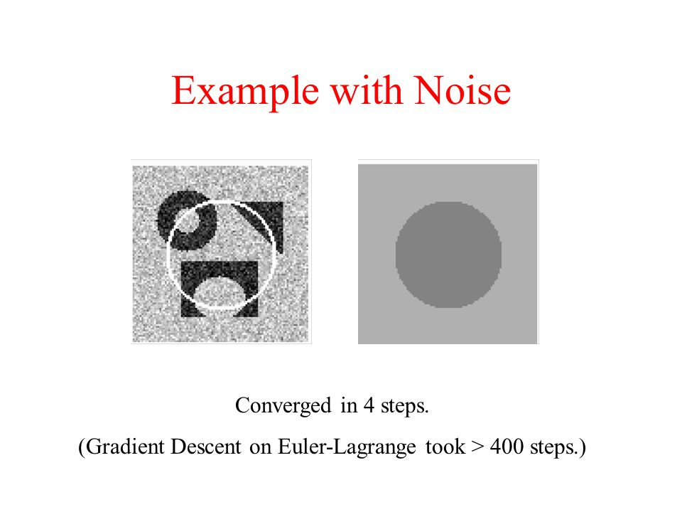 Example with Noise Converged in 4 steps. (Gradient Descent on Euler-Lagrange took > 400 steps.)