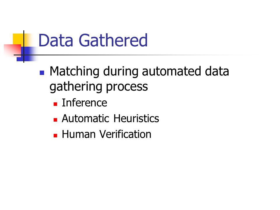 Data Gathered Matching during automated data gathering process Inference Automatic Heuristics Human Verification