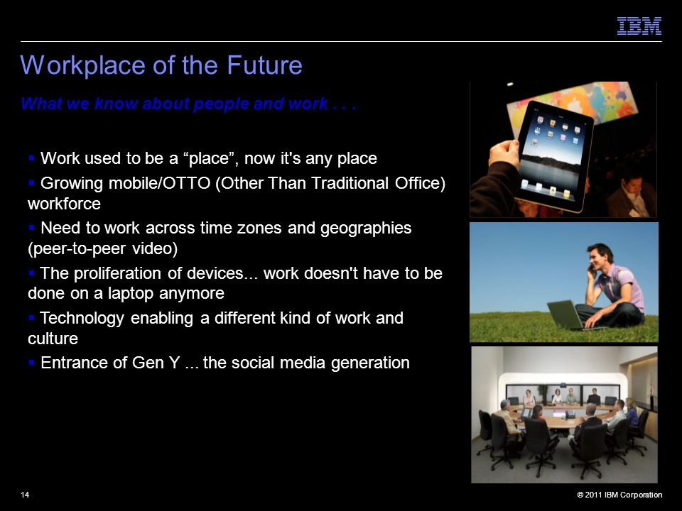 © 2011 IBM Corporation14 Workplace of the Future What we know about people and work...