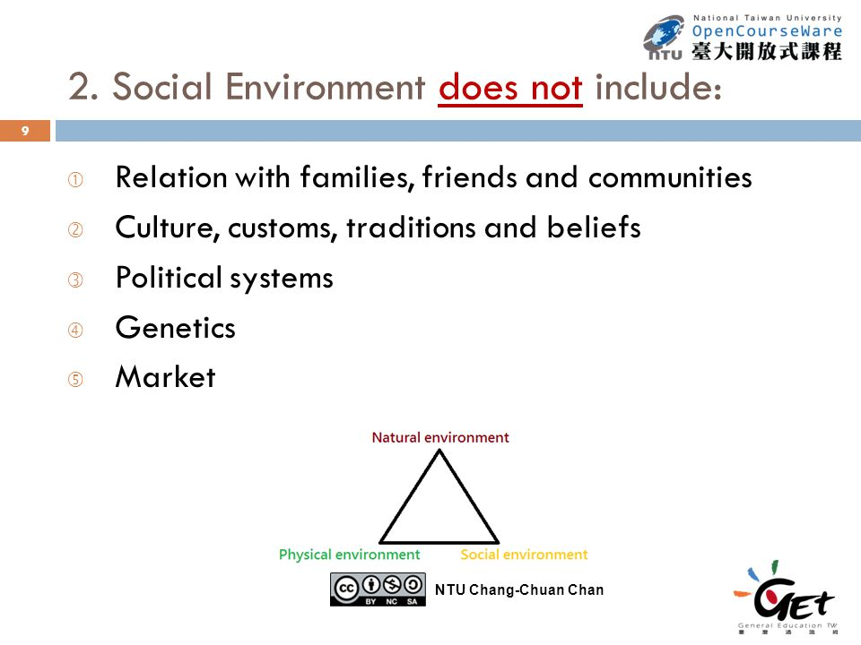 2. Social Environment does not include: 9  Relation with families, friends and communities ' Culture, customs, traditions and beliefs ƒ Political sys