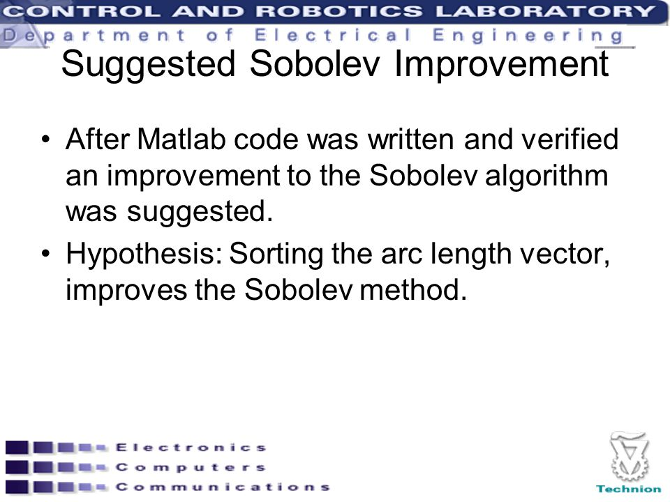 Suggested Sobolev Improvement After Matlab code was written and verified an improvement to the Sobolev algorithm was suggested. Hypothesis: Sorting th