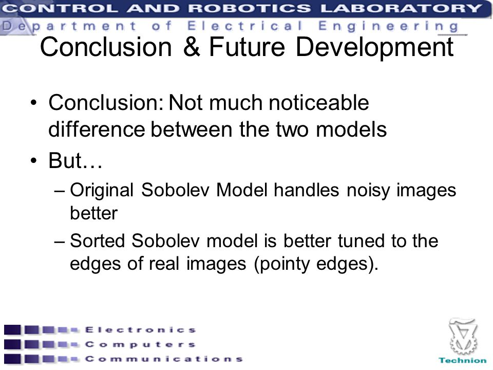 Conclusion & Future Development Conclusion: Not much noticeable difference between the two models But… –Original Sobolev Model handles noisy images better –Sorted Sobolev model is better tuned to the edges of real images (pointy edges).