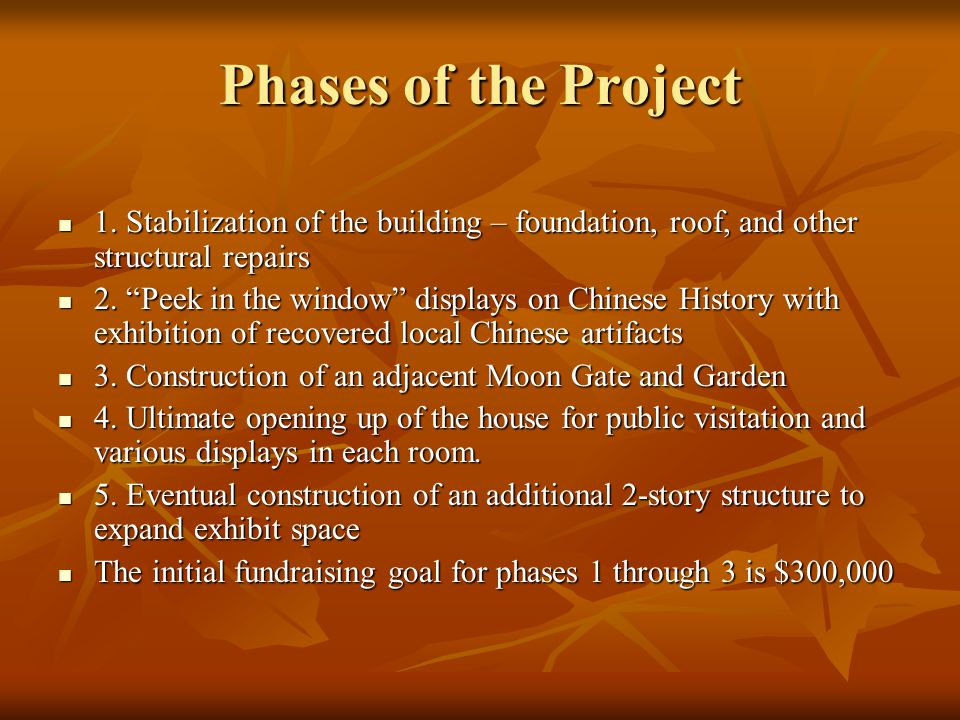 Phases of the Project 1. Stabilization of the building – foundation, roof, and other structural repairs 1. Stabilization of the building – foundation,