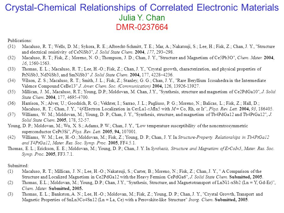 Crystal-Chemical Relationships of Correlated Electronic Materials Julia Y.