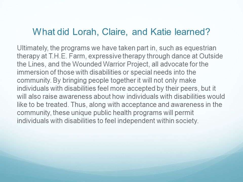 What did Lorah, Claire, and Katie learned.