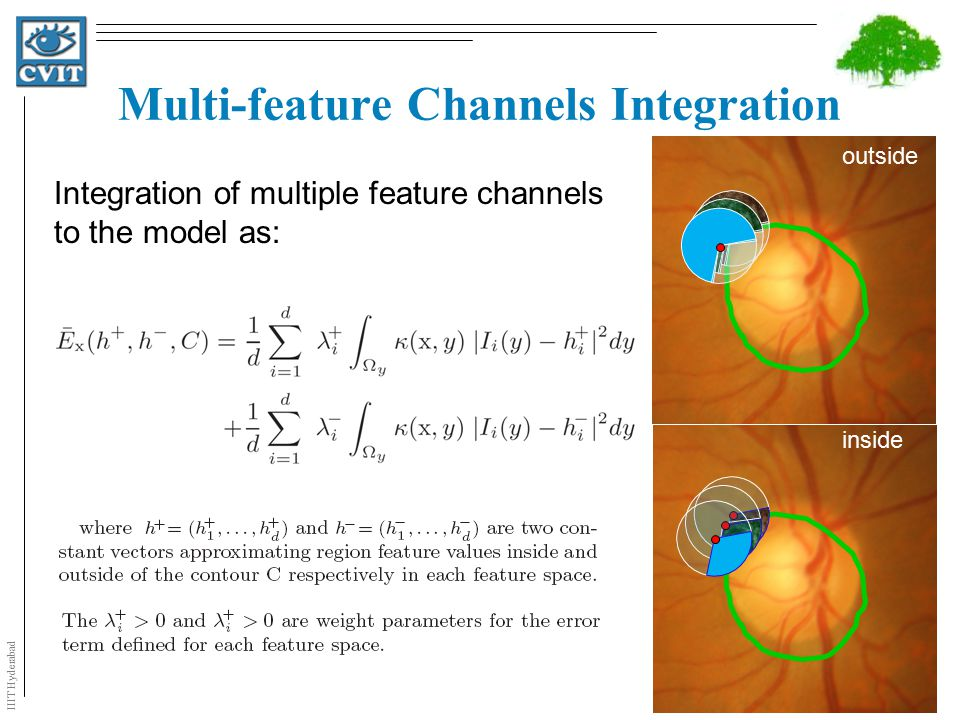 IIIT Hyderabad Multi-feature Channels Integration Integration of multiple feature channels to the model as: outside inside