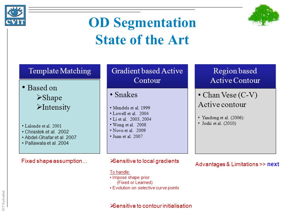 IIIT Hyderabad OD Segmentation State of the Art Template Matching Based on  Shape  Intensity Lalonde et al.