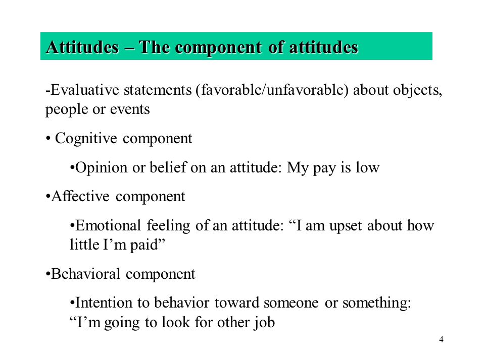 4 Attitudes – The component of attitudes -Evaluative statements (favorable/unfavorable) about objects, people or events Cognitive component Opinion or
