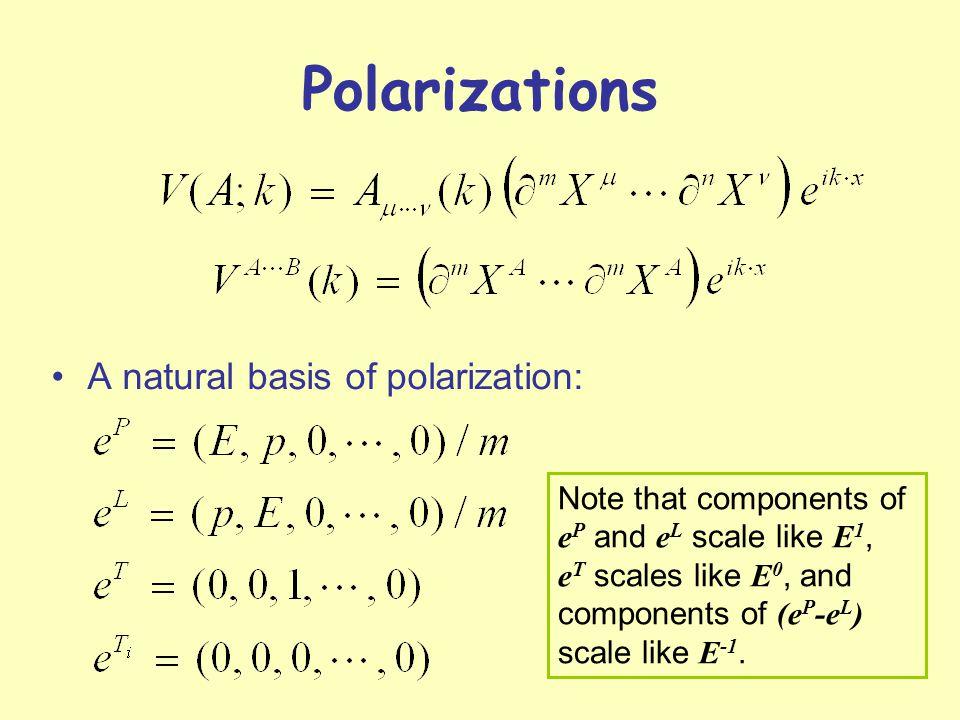Polarizations A natural basis of polarization: Note that components of e P and e L scale like E 1, e T scales like E 0, and components of (e P -e L ) scale like E -1.