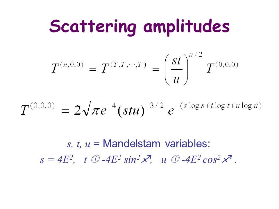 Scattering amplitudes s, t, u = Mandelstam variables: s = 4E 2, t  -4E 2 sin 2 , u  -4E 2 cos 2 .