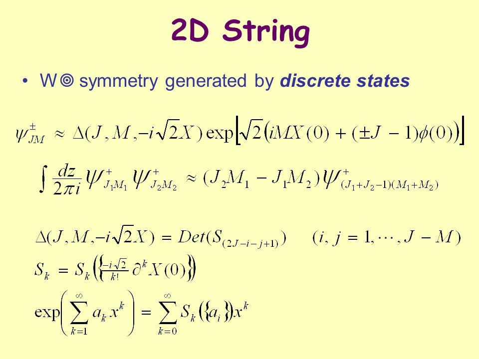 2D String W  symmetry generated by discrete states
