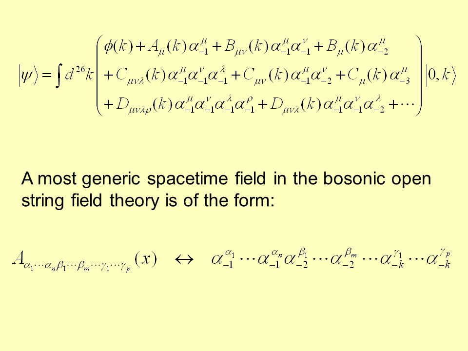 A most generic spacetime field in the bosonic open string field theory is of the form:
