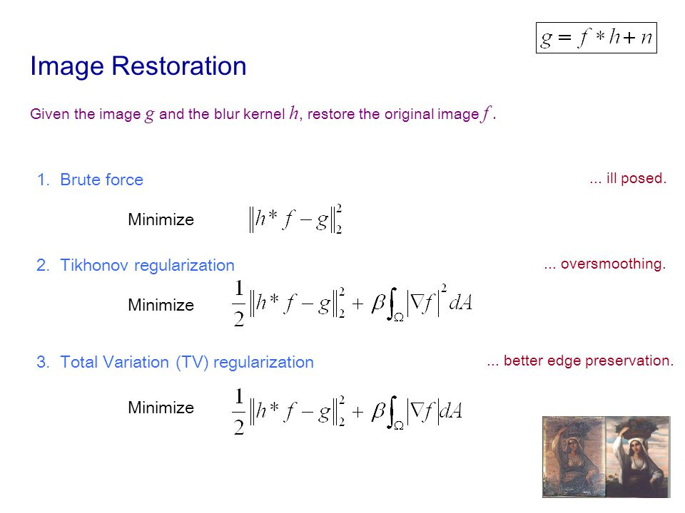 Image Restoration Given the image g and the blur kernel h, restore the original image f.