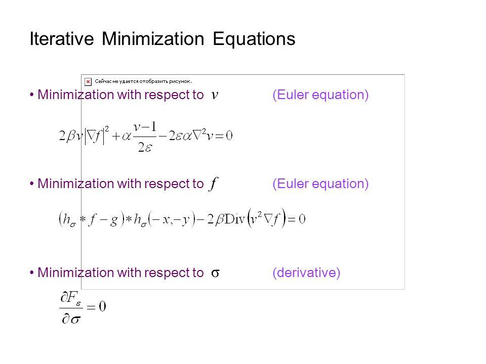Iterative Minimization Equations Minimization with respect to v (Euler equation) Minimization with respect to f (Euler equation) Minimization with respect to σ (derivative)