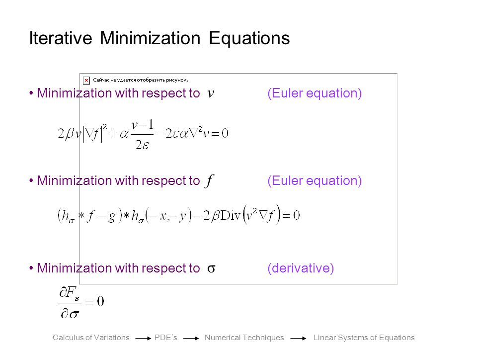 Iterative Minimization Equations Minimization with respect to v (Euler equation) Minimization with respect to f (Euler equation) Minimization with res
