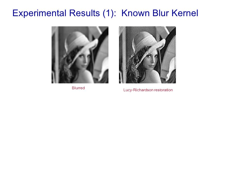 Experimental Results (1): Known Blur Kernel Blurred Lucy-Richardson restoration