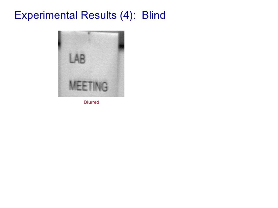 Experimental Results (4): Blind Blurred