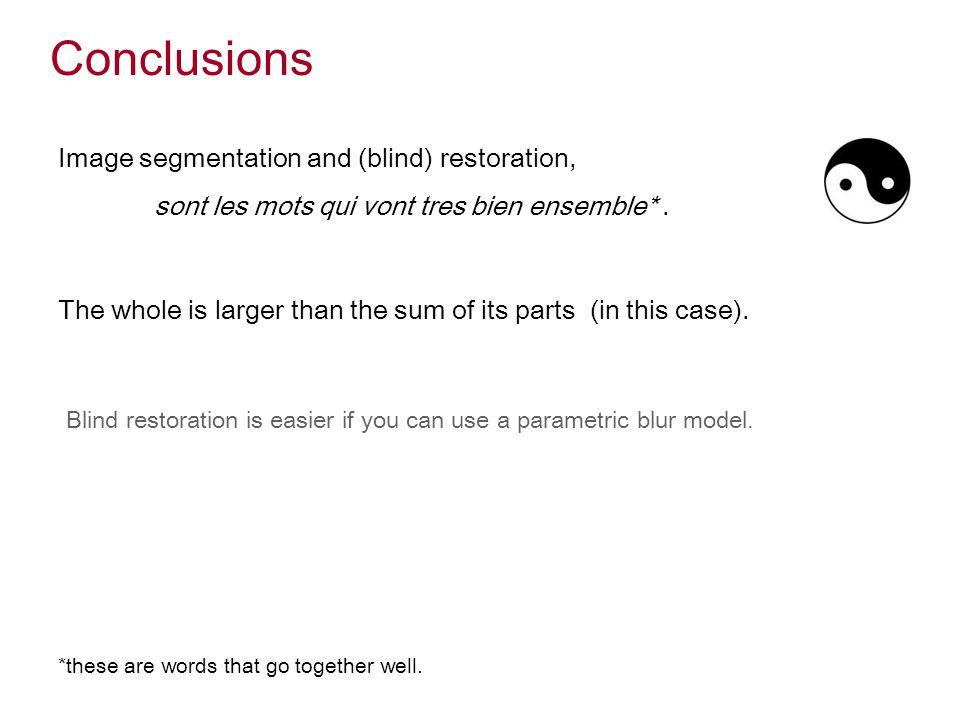 Conclusions Image segmentation and (blind) restoration, sont les mots qui vont tres bien ensemble*.
