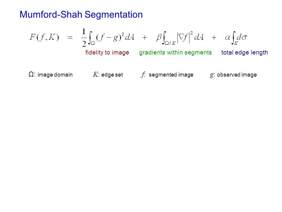 Mumford-Shah Segmentation fidelity to imagegradients within segmentstotal edge length Ω: image domain K: edge set f : segmented image g : observed image