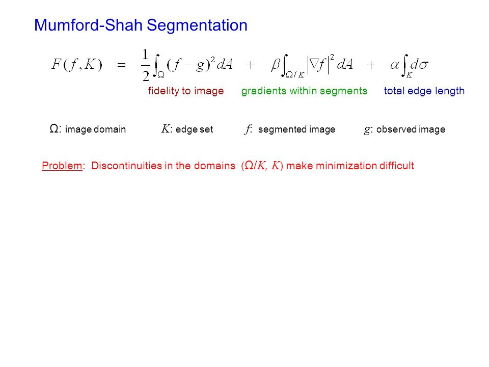 Mumford-Shah Segmentation fidelity to imagegradients within segmentstotal edge length Ω: image domain K: edge set f : segmented image g : observed image Problem: Discontinuities in the domains ( Ω/ K, K ) make minimization difficult