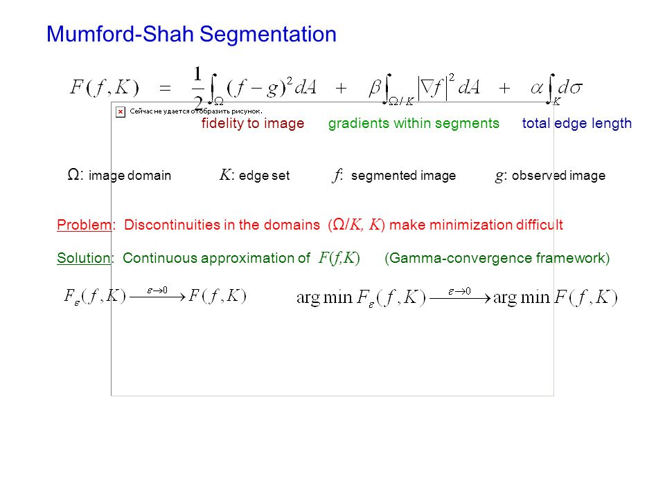 Mumford-Shah Segmentation fidelity to imagegradients within segmentstotal edge length Ω: image domain K: edge set f : segmented image g : observed ima