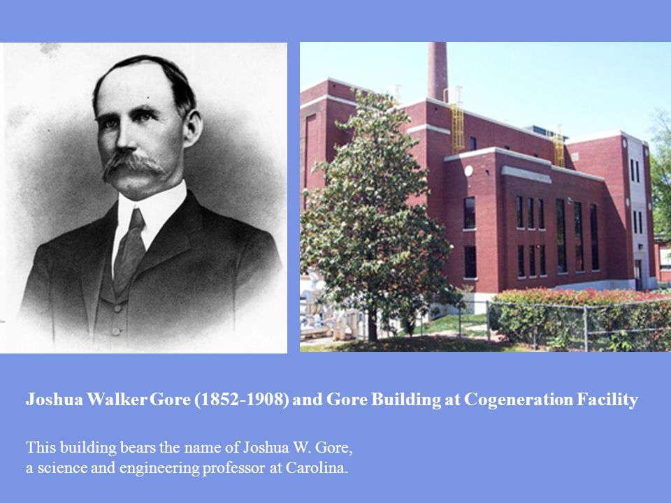 Joshua Walker Gore (1852-1908) and Gore Building at Cogeneration Facility This building bears the name of Joshua W.