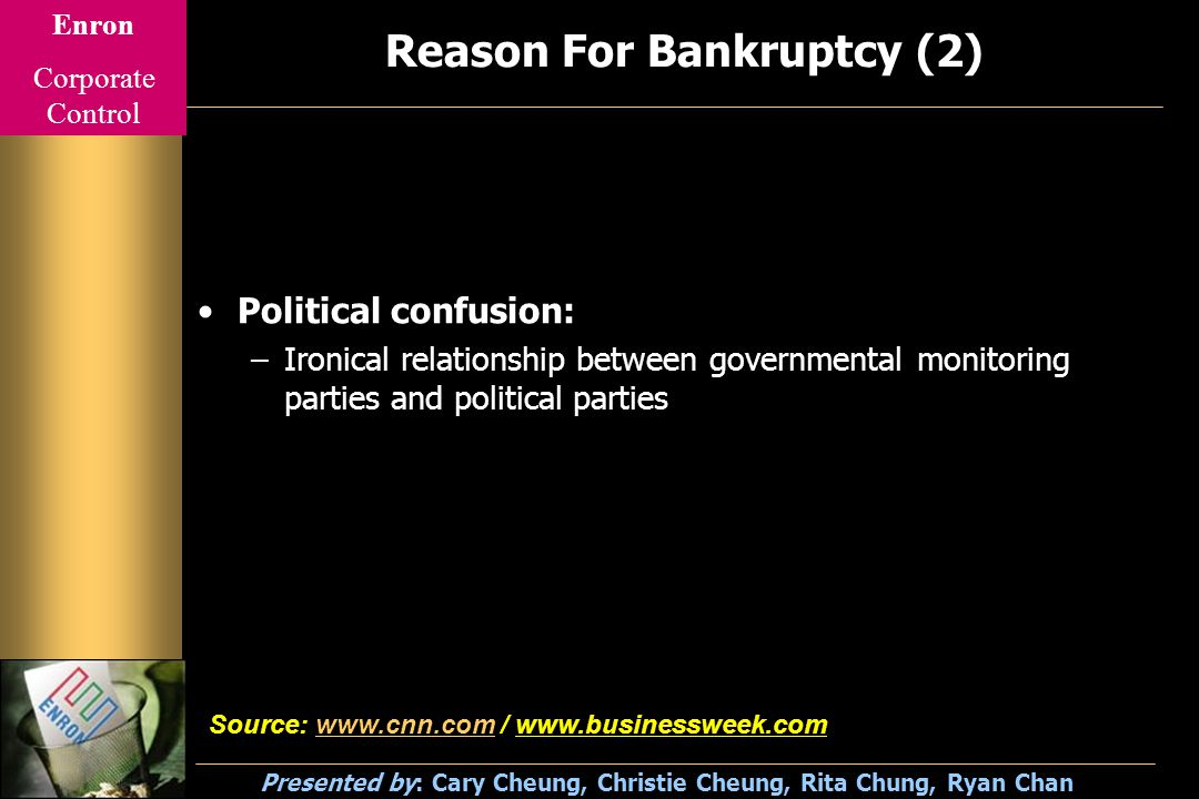 Enron Corporate Control Presented by: Cary Cheung, Christie Cheung, Rita Chung, Ryan Chan Reason For Bankruptcy (2) Political confusion: –Ironical relationship between governmental monitoring parties and political parties Source: www.cnn.com / www.businessweek.comwww.cnn.com