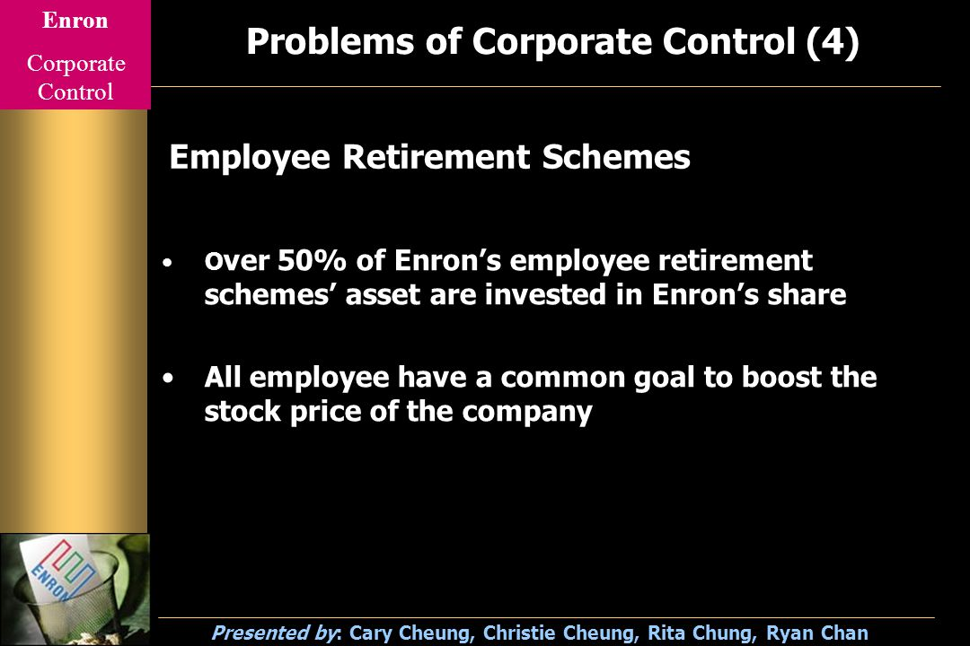 Enron Corporate Control Presented by: Cary Cheung, Christie Cheung, Rita Chung, Ryan Chan Problems of Corporate Control (4) O ver 50% of Enron's employee retirement schemes' asset are invested in Enron's share All employee have a common goal to boost the stock price of the company Employee Retirement Schemes