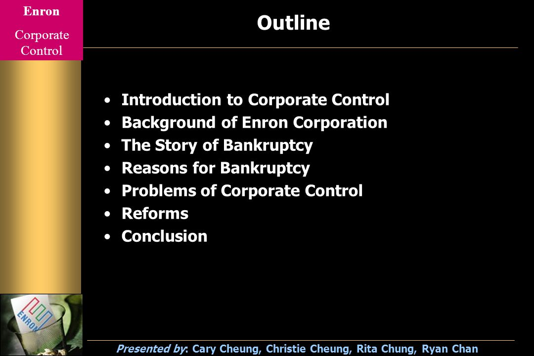 Enron Corporate Control Presented by: Cary Cheung, Christie Cheung, Rita Chung, Ryan Chan Nominal Corporate Structure Senior Manager Board of Director Company Staff Shareholders Audit Committee Auditor Executive Directors Non-Executive Directors