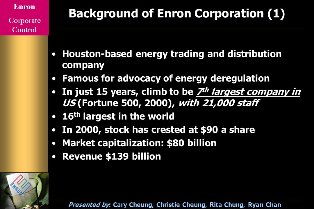 Enron Corporate Control Presented by: Cary Cheung, Christie Cheung, Rita Chung, Ryan Chan Background of Enron Corporation (2) Arthur Andersen acts as accountant and consultant Board of director –14 members, only 2 insiders –Most of the directors owned stock Employee stock ownership and retirement planning –Incentive purpose –Enhance company profit