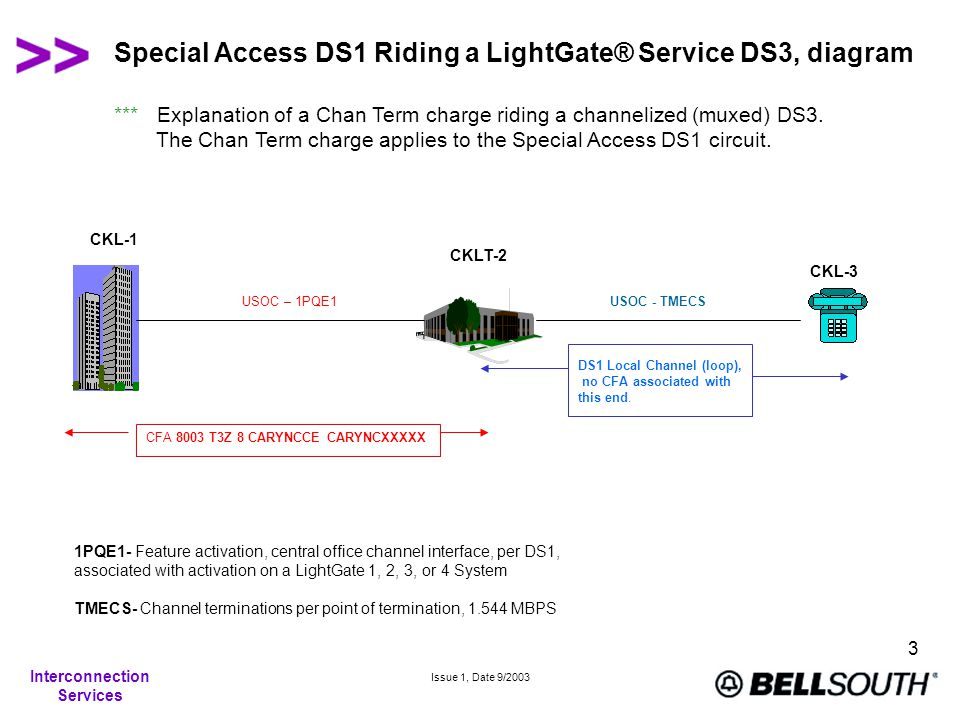 Interconnection Services Issue 1, Date 9/2003 3 Special Access DS1 Riding a LightGate® Service DS3, diagram CKL-3 CKL-1 CKLT-2 CFA 8003 T3Z 8 CARYNCCE CARYNCXXXXX USOC – 1PQE1 DS1 Local Channel (loop), no CFA associated with this end.