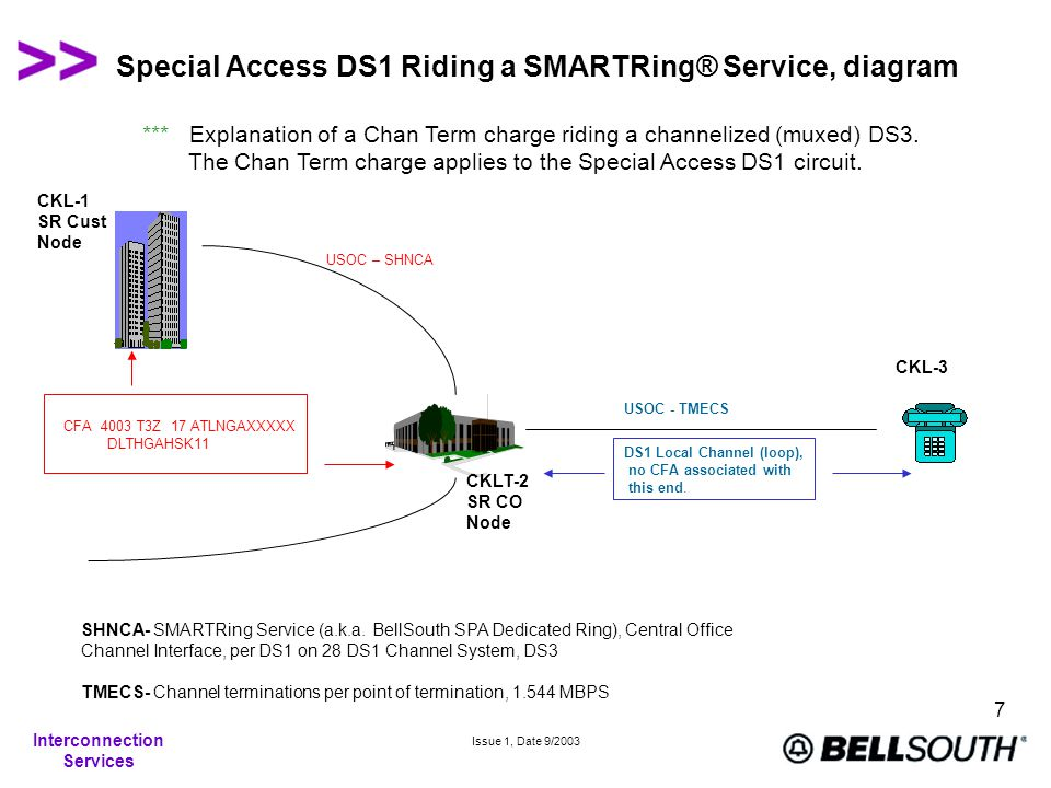 Interconnection Services Issue 1, Date 9/2003 7 Special Access DS1 Riding a SMARTRing® Service, diagram *** Explanation of a Chan Term charge riding a channelized (muxed) DS3.