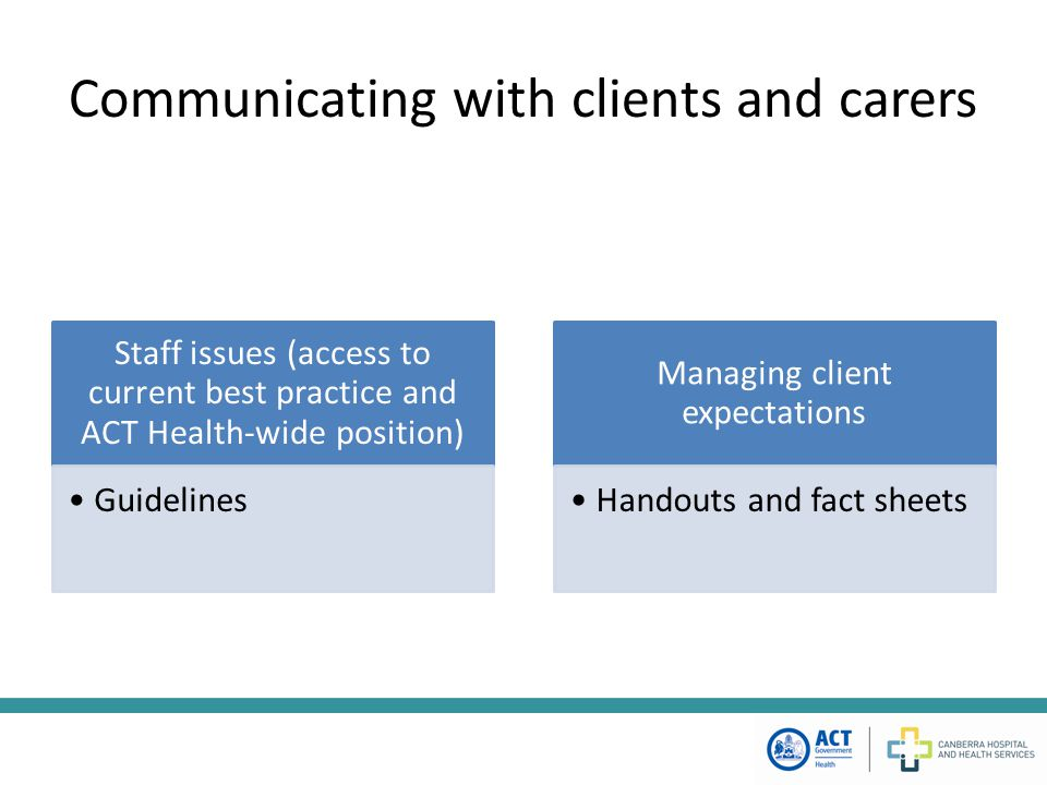 Communicating with clients and carers Staff issues (access to current best practice and ACT Health-wide position) Guidelines Managing client expectations Handouts and fact sheets