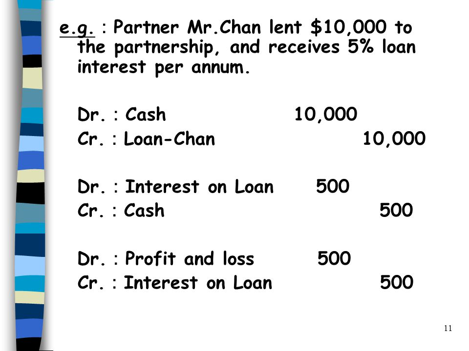 11 e.g. : Partner Mr.Chan lent $10,000 to the partnership, and receives 5% loan interest per annum.