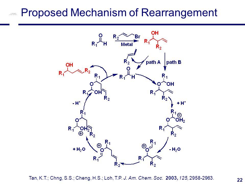 22 Proposed Mechanism of Rearrangement Tan, K.T.; Chng, S.S.; Cheng, H.S.; Loh, T.P.